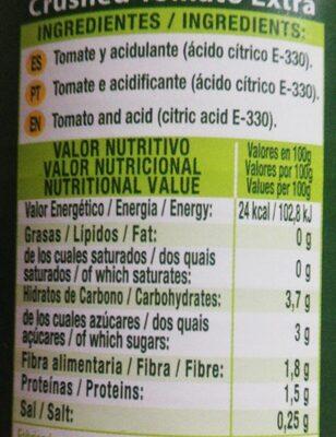 Tomate triturado extra - Información nutricional