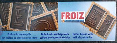 Galleta de mantequilla con tablette de chocolate con leche