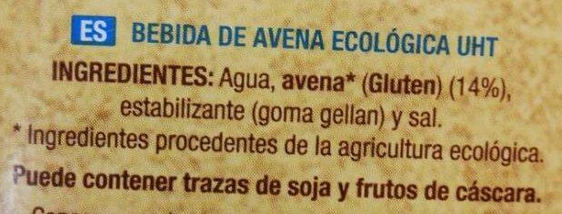 Bebida de avena - Ingrédients