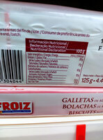 galletas de mantequilla froiz - Información nutricional