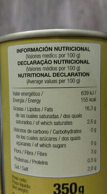 Aceitunas negras sin hueso - Nutrition facts