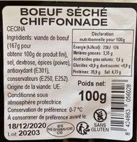 Boeuf séché chiffonnade - Informations nutritionnelles - fr