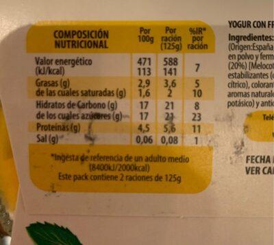 Yogur con melocotón de murcia - Nutrition facts