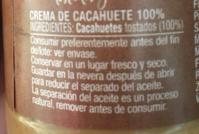 Crema Cacahuetes - Ingredientes