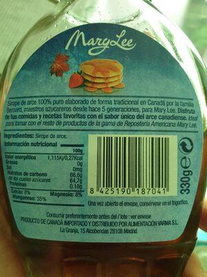 Sirope de arce - Informació nutricional