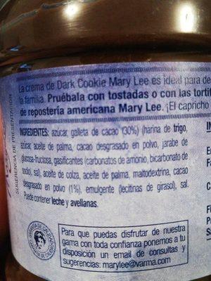 Crema Dark Cookie MaryLee - Ingredientes