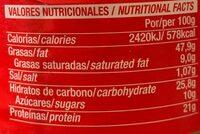 Crema de cacahuete suave tarro - Información nutricional - fr