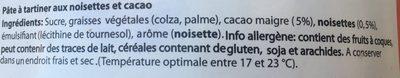 Crema de Cacao y Avellanas - Ingredients - fr