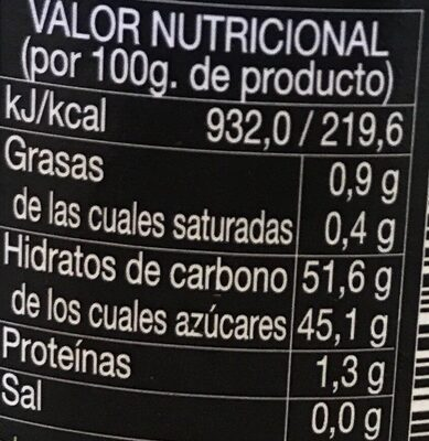 Mermelada de albaricoque - Informations nutritionnelles
