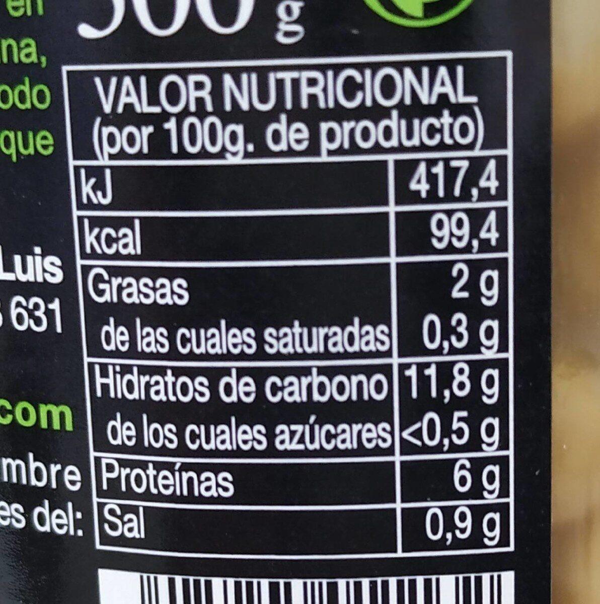 Garbanzos cocidos al natural ecológicos - Voedingswaarden - fr