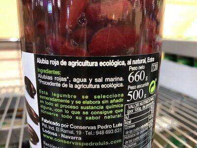 Alubia Roja Cocida Natural Fco. 660GR. Pedro Luis - Ingrediënten - es