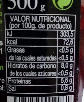 Alubia Roja Cocida Natural Fco. 660GR. Pedro Luis - Voedingswaarden - es
