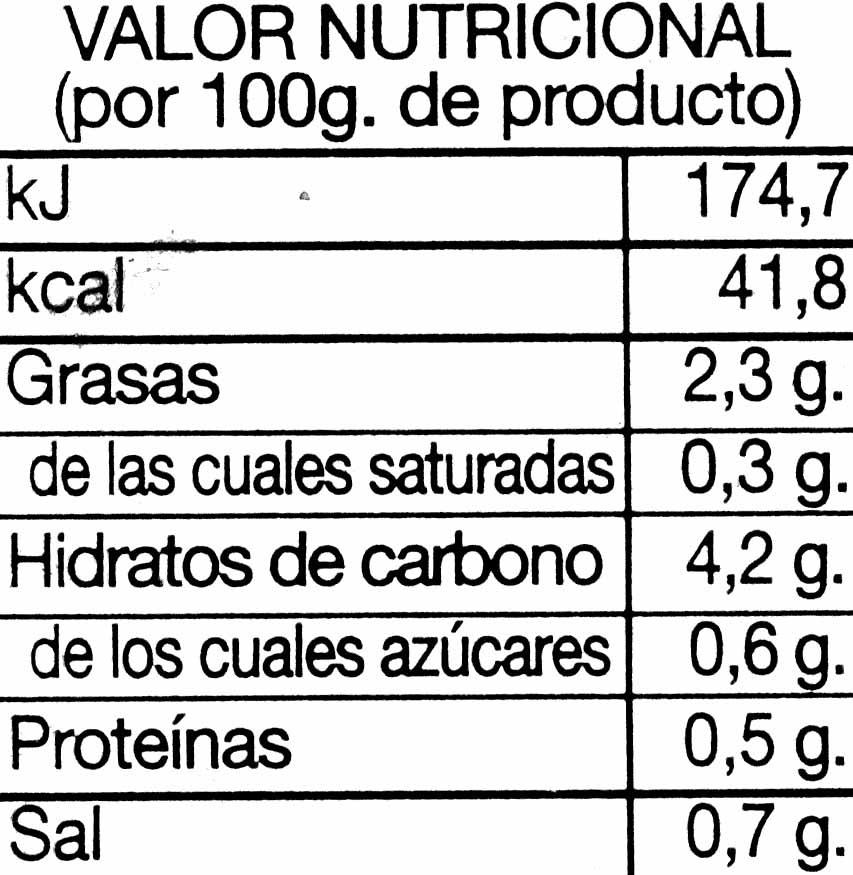 Crema de calabacín - Informació nutricional - es