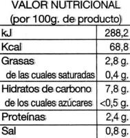 Crema de legumbres Selección gourmet - Información nutricional - es