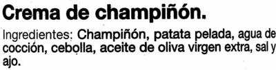 Crema de champiñones - Ingredients