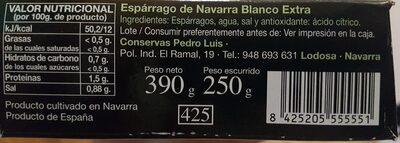 Espárrago de Navarra Blanco Extra - Informació nutricional