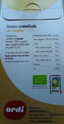 Sésamo caramelizado - Informació nutricional - es