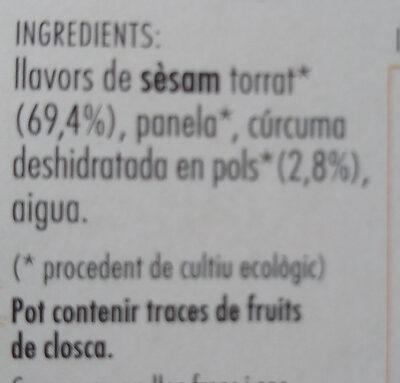 Sèsam caramel·litzat amb Cúrcuma - Ingredientes