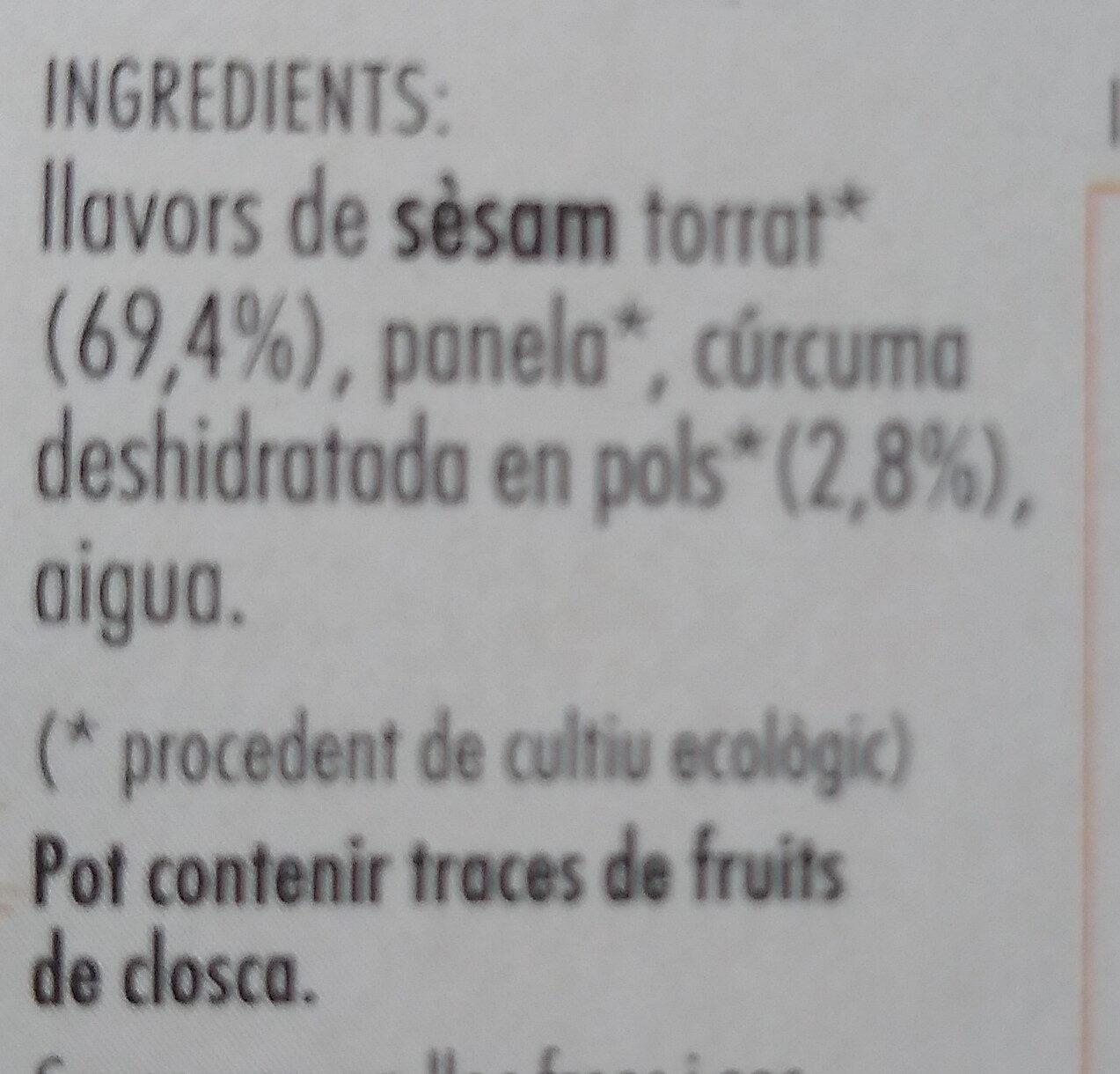 Sèsam caramel·litzat amb Cúrcuma - Ingredientes - ca