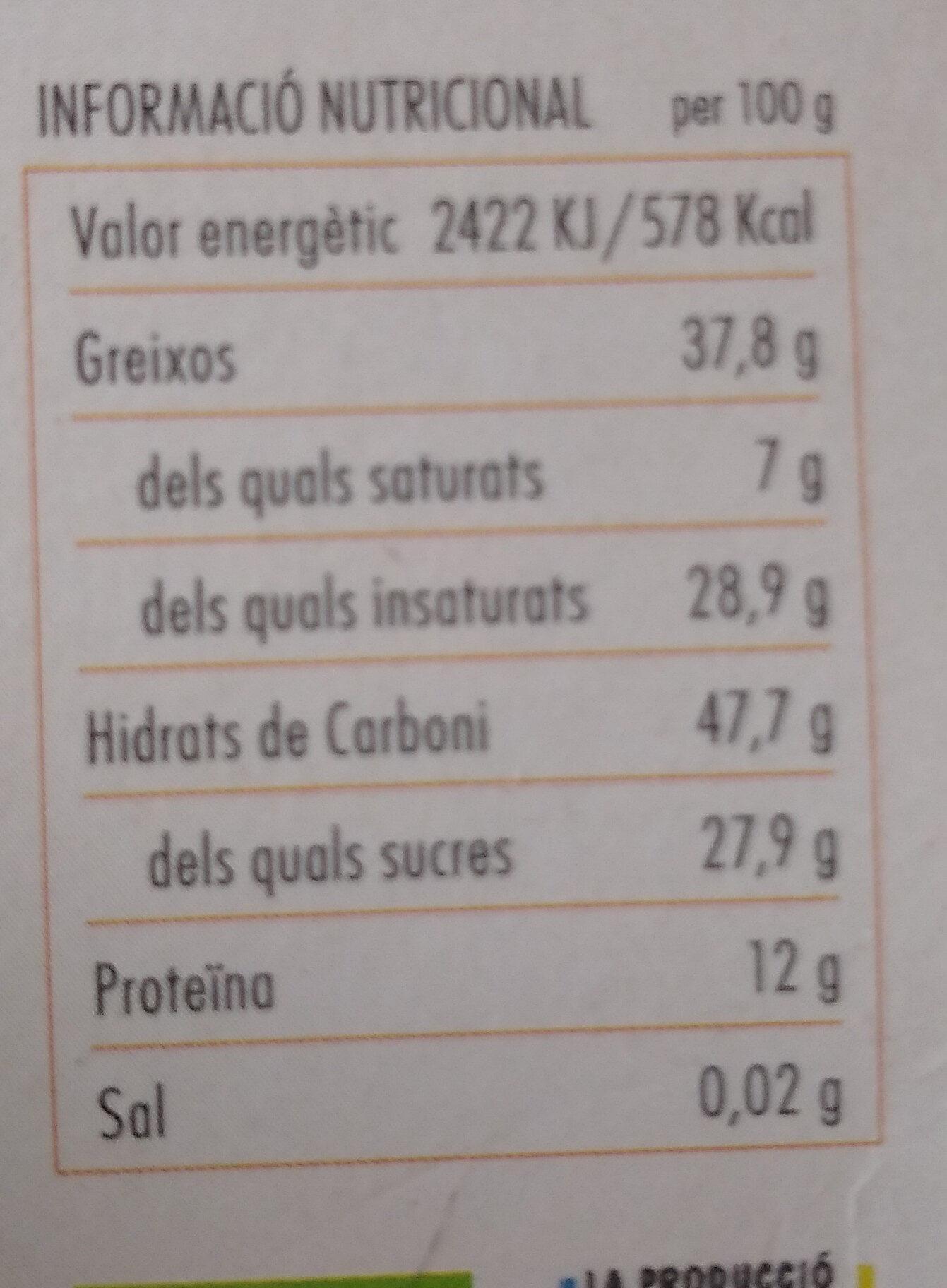 Sèsam caramel·litzat amb Cúrcuma - Información nutricional
