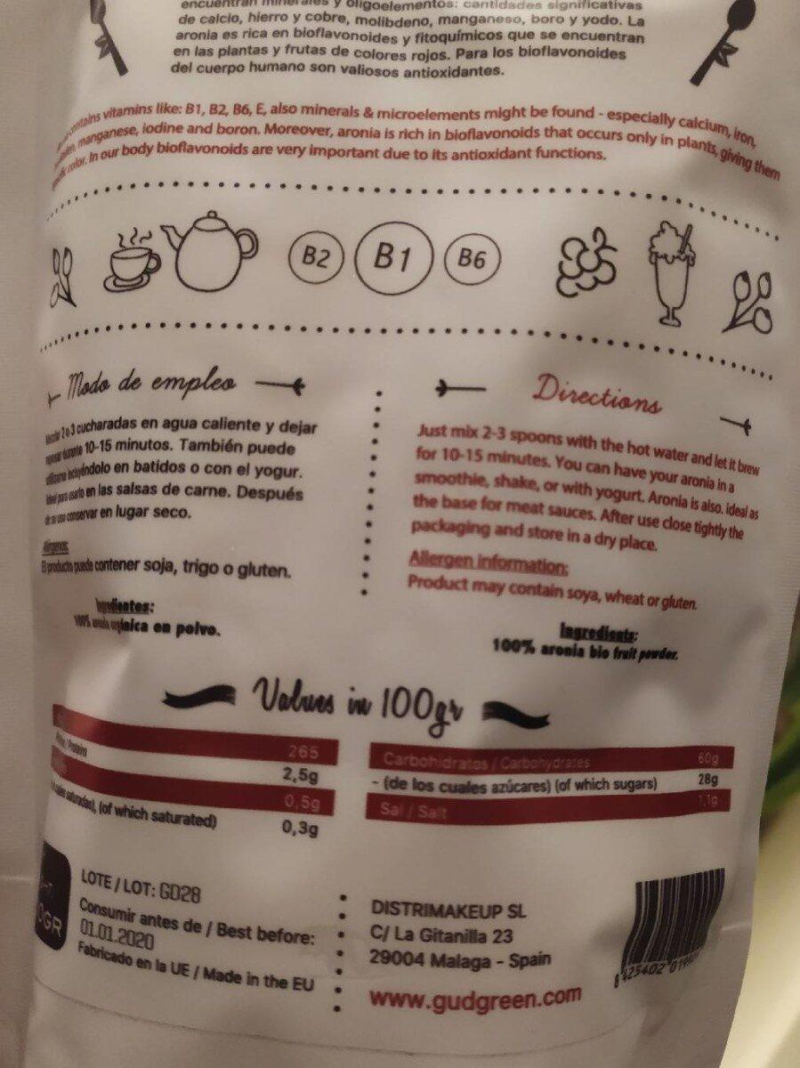 Aronia en polvo - Información nutricional