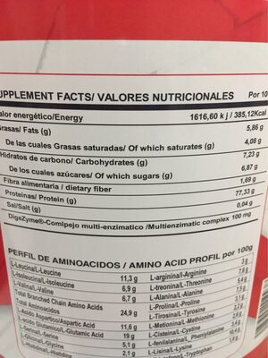 Whey chocolate - Nutrition facts - es