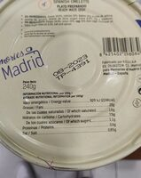 Tortilla española - Información nutricional