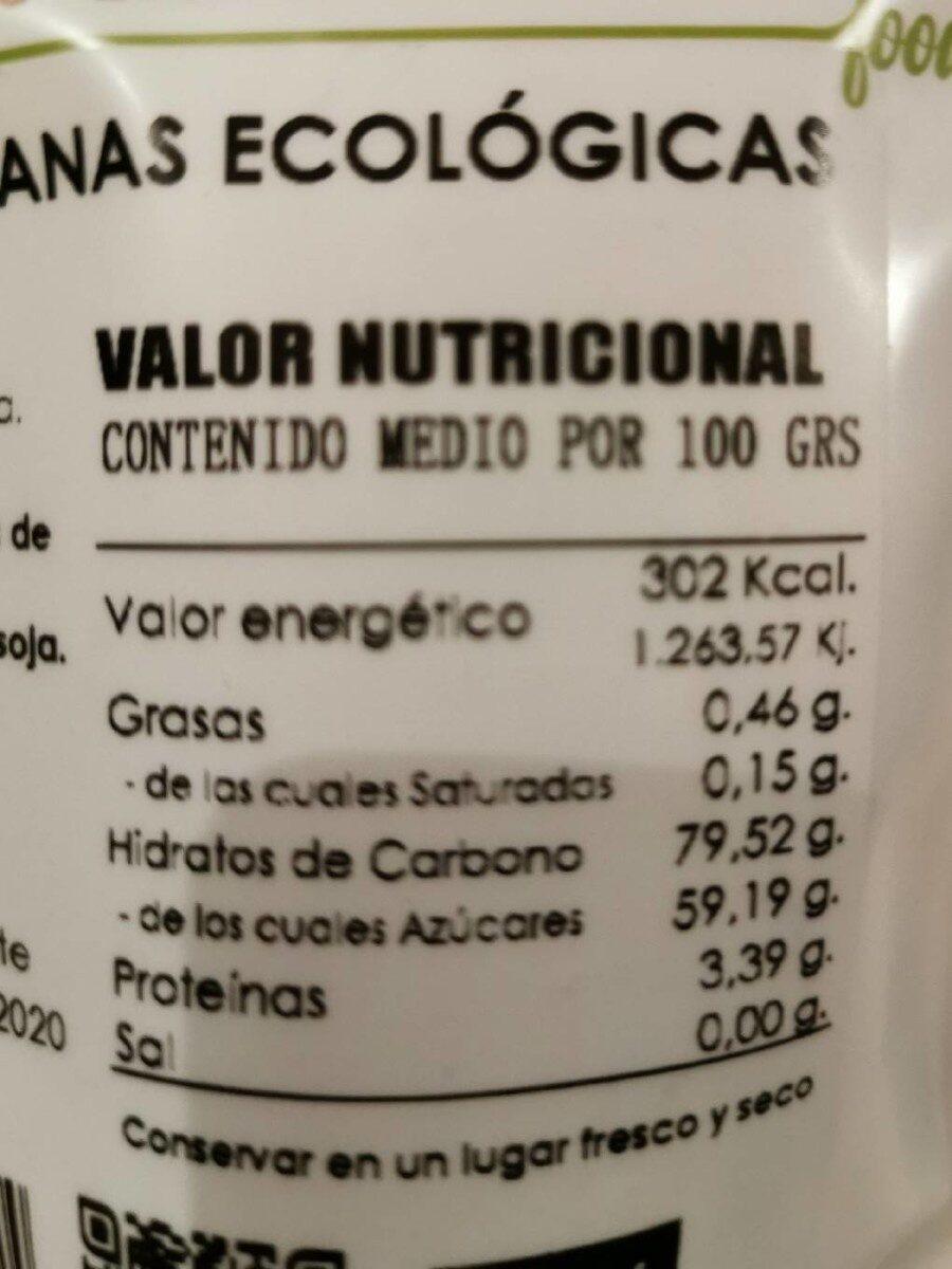 Pasas sultanas ecológicas - Informations nutritionnelles - es