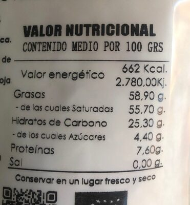 Chips de coco tostados ecológicos - Informations nutritionnelles - es