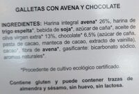 Galletas con avena y chocolate - Ingrédients - es