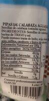 Pipas de calabaza - Información nutricional - es