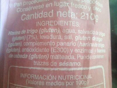 Barra de pan 41% integral - Ingredientes