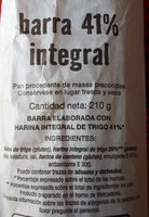 Pan 41% integral - Ingredientes - es