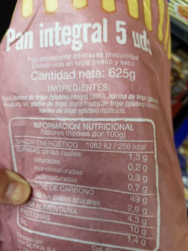 Pan 51% integral - Ingrédients - es