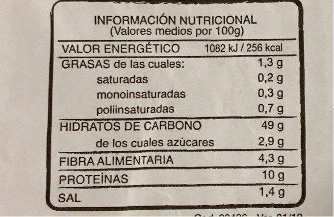 Pan 51% integral - Informations nutritionnelles - es