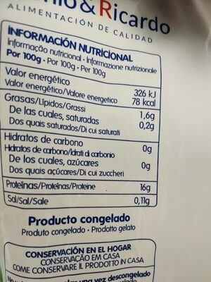 Filetea de merluza sin piel - Voedingswaarden - es