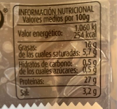 Jamón curado bodega - Nutrition facts - es