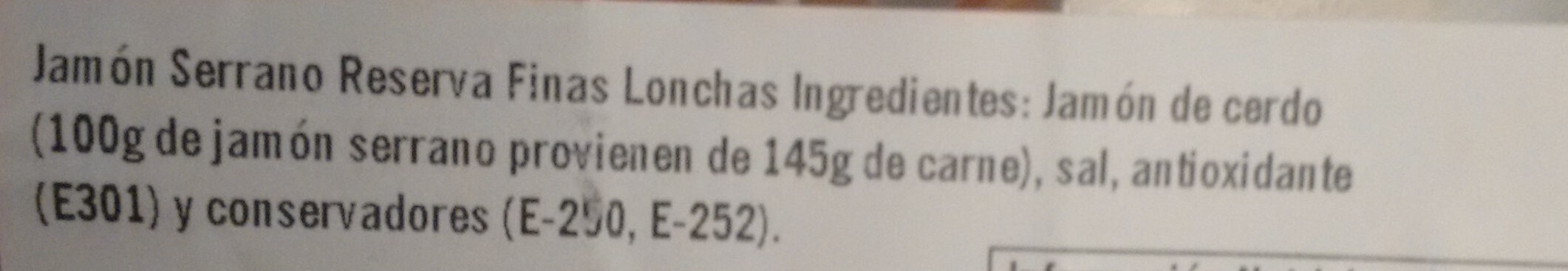 Jamón Serrano reserva selección - Ingredients - en