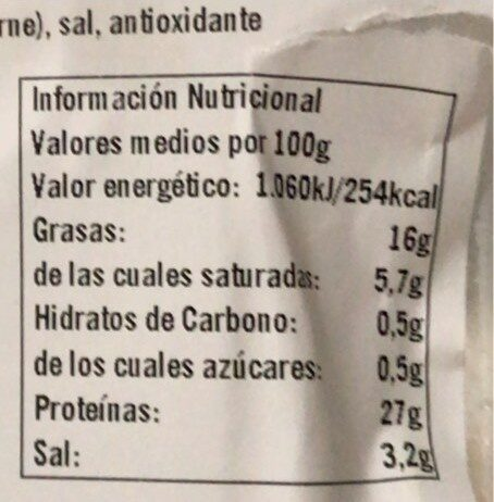 Jamón Serrano reserva selección - Nutrition facts - es