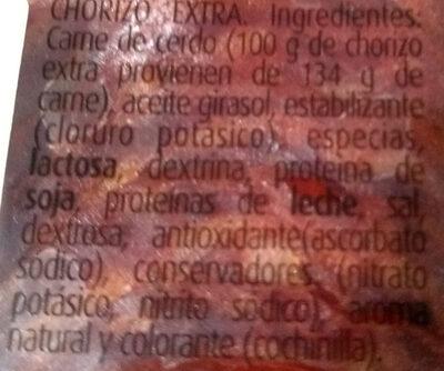 Chorizo extra - Ingredients - es