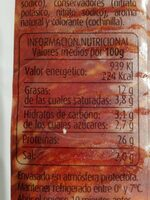 Chorizo extra - Nutrition facts - es