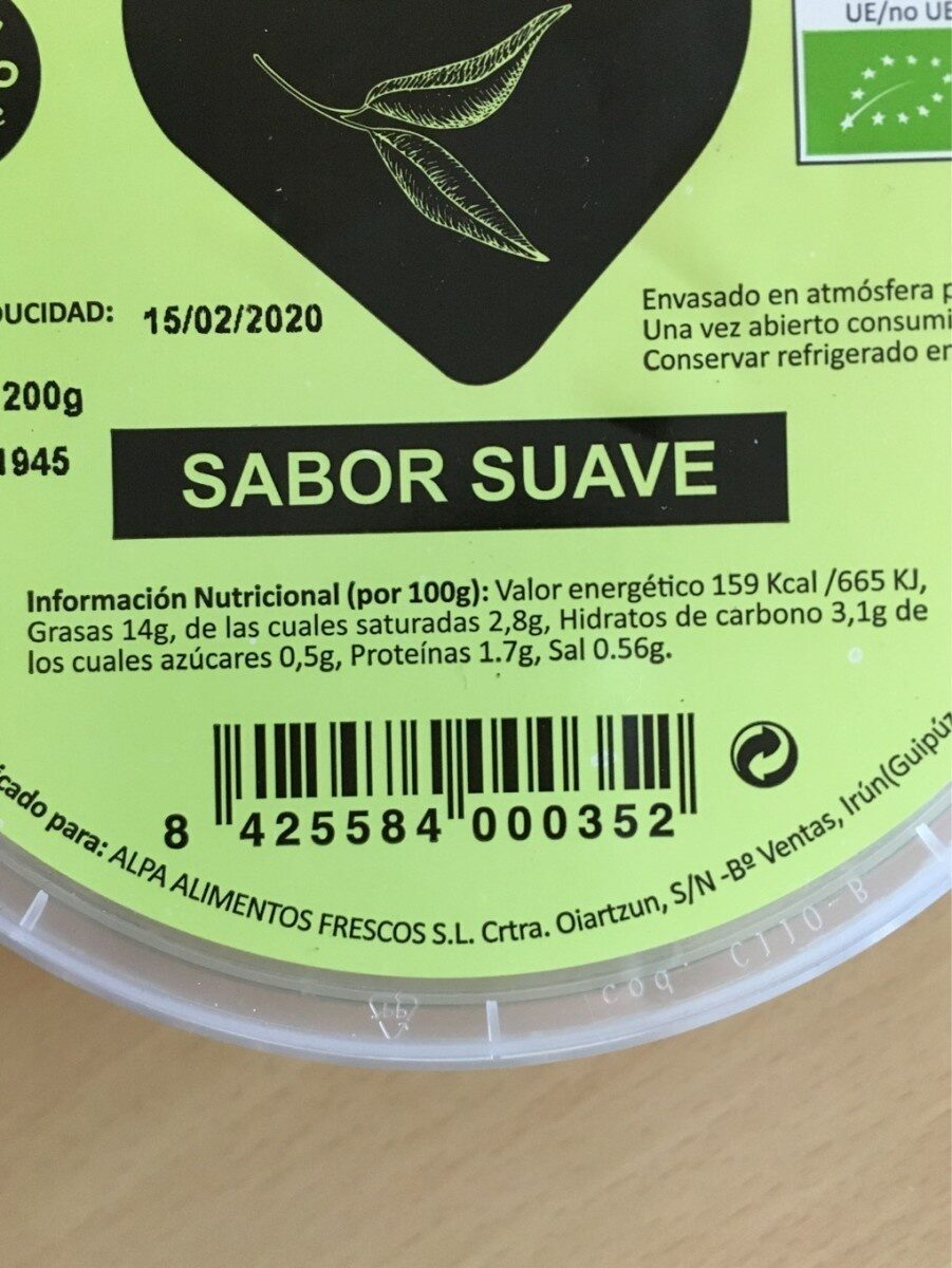 Bio guacamole (suave) - Información nutricional - es