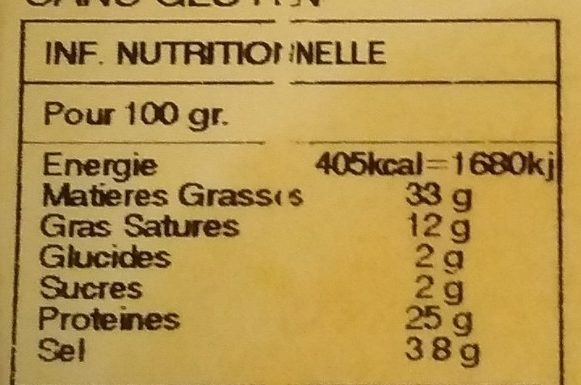 Fouet extra - Nutrition facts - fr
