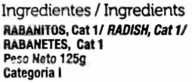 Rabanitos - Ingredientes - es