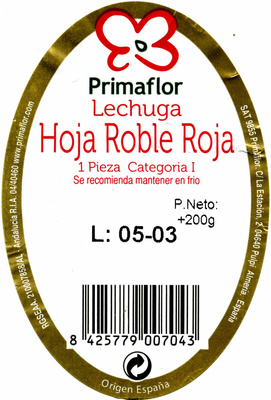Lechuga Hoja de roble roja - Ingredientes