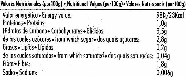 """Tomate natural rallado """"Primaflor"""" - Nutrition facts - es"""