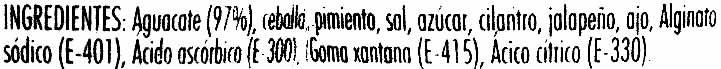 """Guacamole fresco """"Primaflor"""" picante - Ingrédients - es"""