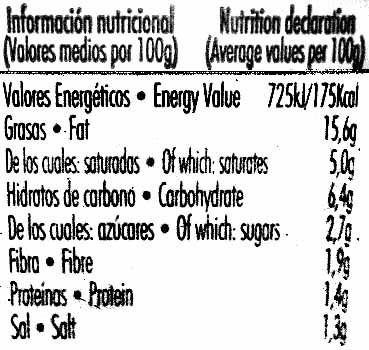 """Guacamole fresco """"Primaflor"""" picante - Informations nutritionnelles - es"""