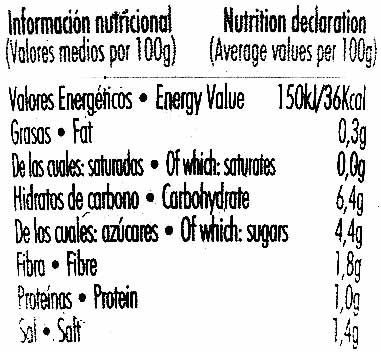"""Salsa mexicana """"Primaflor"""" - Información nutricional - es"""
