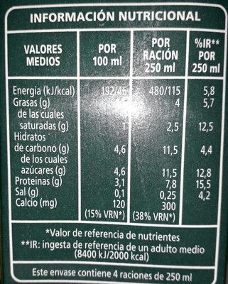 Leche Campo Nuestro - Información nutricional